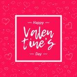 Parteifahne mit Lippenstiftherzgrenze auf rosa Farbhintergrund Text-glücklicher Valentinsgruß ` s Tag Lizenzfreies Stockbild