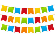 Parteiflaggen auf Weiß Stockfotos