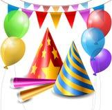 Parteihut-, -ballon- und -hornsatz Lizenzfreies Stockbild