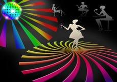 Parteikonzept mit der Schattenbildfrau, die auf dem Boden an der flippigen Discopartei steht Stockbild