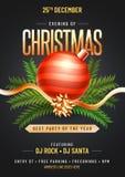 Parteischablone oder Fliegerdesign verziert mit Weihnachtsverzierung stock abbildung
