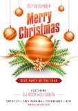 Parteischablone oder Fliegerdesign verziert mit Weihnachtsverzierung lizenzfreie abbildung