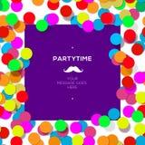 Parteizeit-Designschablone mit Konfettis Stockbild