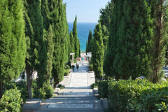 PARTENIT, CRIMEA, RUSSIA - SEPTEMBER 16.2014: Marble staircase in the Park Stock Photo