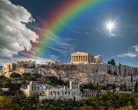 Partenon, acrópole de Atenas, arco-íris após a tempestade imagens de stock