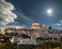Partenon, acrópole de Atenas em um dia ensolarado, férias de verão fotos de stock