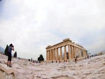 Partenone di Atene, Grecia grandangolare fotografia stock libera da diritti