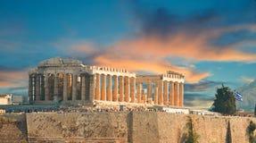 Partenone nell'acropoli di autunno a Atene Grecia Immagini Stock