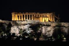 Partenone storico di Atene, Grecia alla notte Fotografia Stock Libera da Diritti