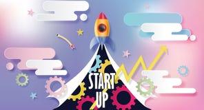 Partenza di affari, nuovo progetto illustrazione moderna di vettore di stile di progettazione del taglio della carta Immagine Stock