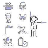 Partenza grafica di progettazione del passeggero del trasporto di aeroporto di volo dell'illustrazione del profilo stabilito di l Immagine Stock Libera da Diritti