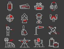 Partenza grafica di progettazione del passeggero del trasporto di aeroporto di volo dell'illustrazione del profilo stabilito di l Fotografie Stock Libere da Diritti