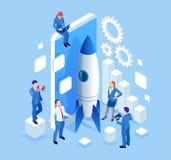 Partenza isometrica di Businnes per la pagina Web, insegna, presentazione, progettazione sociale della pagina di atterraggio di c illustrazione vettoriale