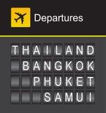 Partenze della Tailandia, aeroporto di alfabeto di vibrazione della Tailandia, Tailandia, Bangkok, Phuket, Samui Fotografia Stock