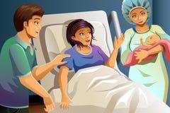 Partera Helping Delivering un bebé ilustración del vector