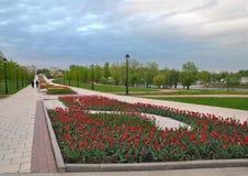 Parterre avec les tulipes rouges dans le ` de Tsaritsyno de ` de parc, Moscou image libre de droits