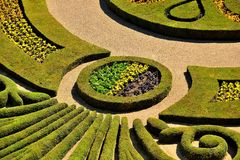 Parterre in a French formal garden. With flowers, details, France Royalty Free Stock Photography