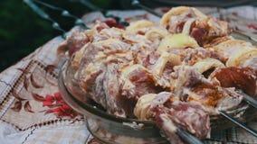 Partes apetitosas deliciosas de uma carne fresca amarrada nos espetos prontos para o assado video estoque