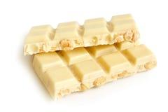 Partes brancas do chocolate com porcas Fotos de Stock Royalty Free