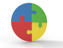 Partes coloridas do enigma de serra de vaivém isoladas no fundo branco. Conceito dos trabalhos de equipa do negócio. Fotos de Stock