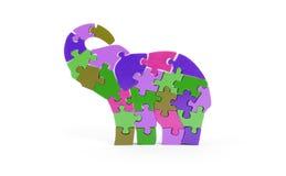 Partes coloridas do enigma na forma do elefante Imagens de Stock Royalty Free