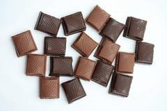 Partes da barra de chocolate Fotografia de Stock