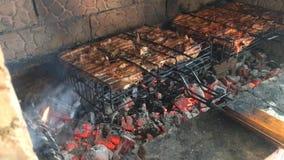 Partes da carne da carne de porco, do cordeiro ou da galinha que estão sendo fritadas em uma grade do carvão vegetal ou mangal Fr filme