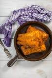 Partes de bacalhau nas côdeas de pão ralado Imagens de Stock Royalty Free