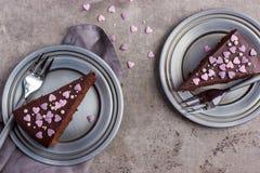 Partes de bolo de chocolate delicioso Fotografia de Stock
