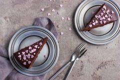 Partes de bolo de chocolate delicioso Fotografia de Stock Royalty Free