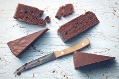 Partes de bolo do sacher Fotos de Stock Royalty Free