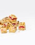 Partes de bolo saboroso com framboesas Imagem de Stock