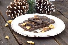 Partes de chocolate e de nozes fotos de stock royalty free