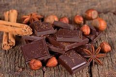 Partes de chocolate escuro Imagem de Stock