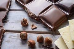 Partes de chocolates da telha Fotografia de Stock Royalty Free