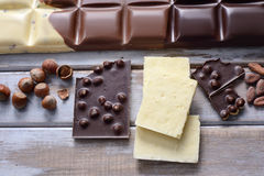 Partes de chocolates da telha Foto de Stock