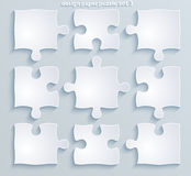 Partes de enigmas coloridos. Grupo de 8, 4, vetor 10  Fotografia de Stock