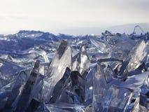Partes de glisten do gelo no sol Lago Baikal, Rússia Foto de Stock Royalty Free