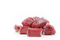 Partes de goulash de carne crua Fotos de Stock Royalty Free