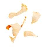Partes de la cáscara de la mandarina aisladas en blanco Imagenes de archivo