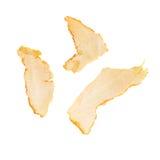 Partes de la cáscara de la mandarina aisladas en blanco Imagen de archivo