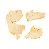 Partes de la cáscara de la mandarina aisladas en blanco Imagen de archivo libre de regalías