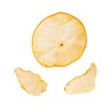 Partes de la cáscara de la mandarina aisladas en blanco Fotografía de archivo