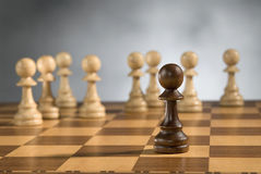 Partes de madeira do jogo de xadrez foto de stock royalty free