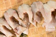 Partes de peixes frescas, pique Foto de Stock