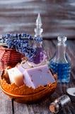 Partes de sabão em uma bacia Foto de Stock Royalty Free