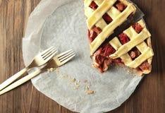Partes de torta de ruibarbo da morango Foto de Stock Royalty Free