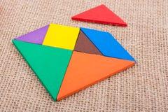 Partes de um enigma quadrado do tangram Imagens de Stock Royalty Free