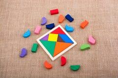 Partes de um enigma quadrado do tangram Imagem de Stock Royalty Free