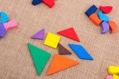 Partes de um enigma quadrado do tangram Foto de Stock Royalty Free